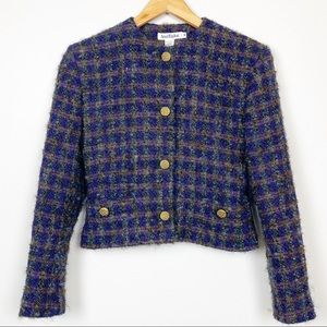Ann Taylor Blazer Suit Purple Tartan French Wool